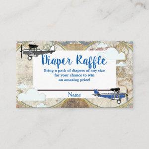 Vintage Planes & Clouds World Map Diaper Raffle Enclosure Card