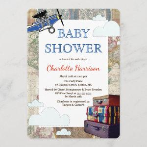 Vintage Planes & Clouds World Travel Baby Shower Invitation