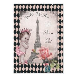 Vintage Princess Eiffel Tower Rose Baby Shower Invitation