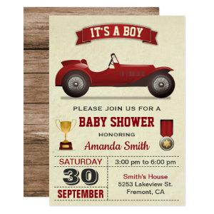 Vintage Red Race Car Baby Shower Invitation