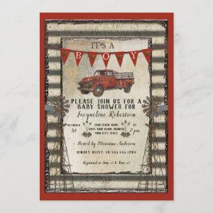 Vintage Red Truck Rustic Farmhouse Boy Baby Shower