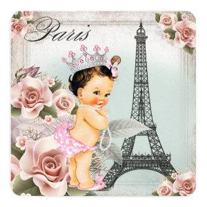 Vintage Rose Eiffel Tower Paris Baby Shower Invitation