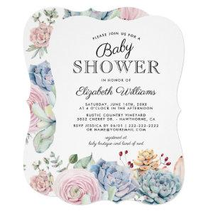 Vintage Succulent Floral Baby Shower Invitation