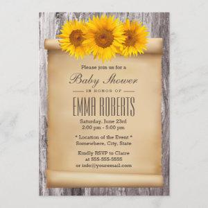 Vintage Sunflowers Old Scroll Wood Baby Shower Invitation