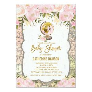 Vintage Travel Baby Girl Shower Invitation Floral