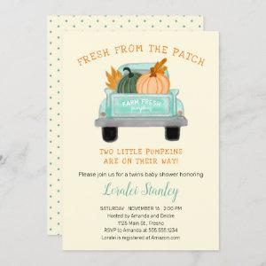 Vintage Truck Two Pumpkins Fall Twins Baby Shower