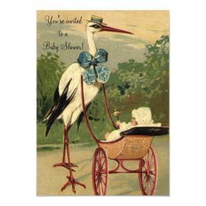 Vintage Victorian Stork, Baby Shower Invitation