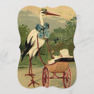 Vintage Victorian Stork with Carriage Baby Shower