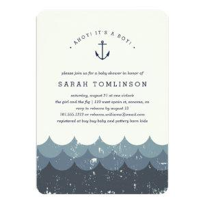 Vintage Waves Baby Shower Invitation