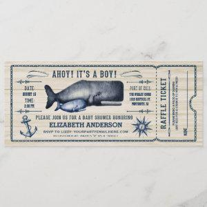 Vintage Whale, Baby Shower Ticket