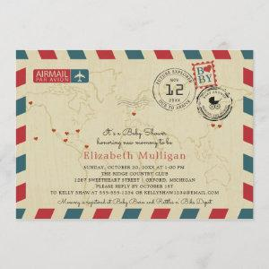Vintage World Traveler Airmail Baby Shower Invitation