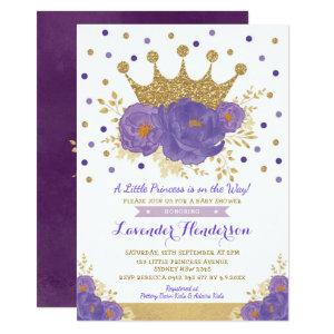 Violet Gold Crown Princess Floral Girl Baby Shower Invitation