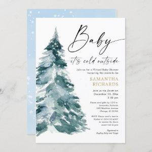 Virtual baby shower Baby it's cold outside boy Invitation