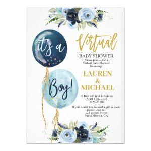 Virtual Baby Shower boy Invitation