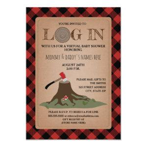 Virtual Baby Shower By Mail Log In Lumberjack Invitation