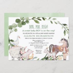 Virtual Baby Shower Farm Barnyard animals boy Invitation