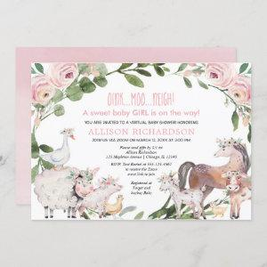 Virtual Baby Shower Farm Barnyard animals girl Invitation