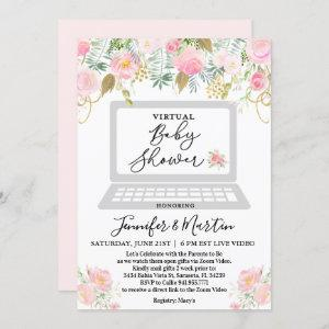 Virtual Baby Shower Floral Invitation