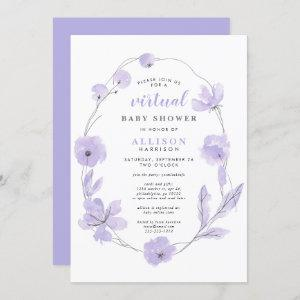Virtual Baby Shower | Lavender Floral Watercolor Invitation