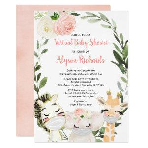 Virtual baby shower pink greenery safari animals invitation