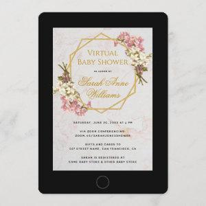 Virtual Baby Shower Pink Orchids Floral Geometric