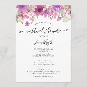 Virtual Bridal or Baby Shower Watercolour Floral Invitation