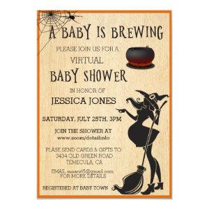 Virtual Halloween Baby is Brewing Shower Witch Invitation