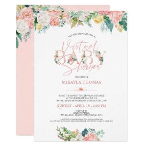 Virtual Online Baby Shower Rose Gold Pink Floral Invitation
