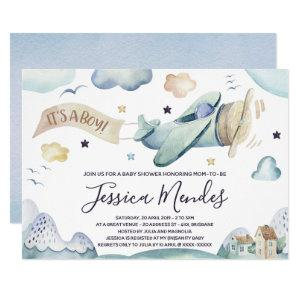 Watercolor Airplane Baby Boy Shower Invitation