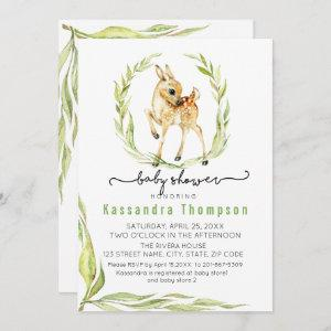 Watercolor Baby Deer With Greenery Baby Shower Invitation