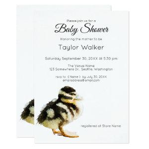 Watercolor Baby Duck  Baby Shower  Invitation