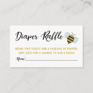Watercolor Bee's Diaper Raffle Tickets Enclosure Card