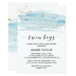 Watercolor Blue and Gold Twin Boys Baby Shower Invitation