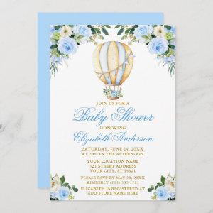Watercolor Blue Floral Hot Air Balloon Baby Shower Invitation