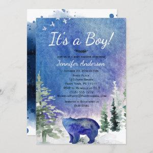 Watercolor Blue Forest Bear Boy Baby Shower Invitation