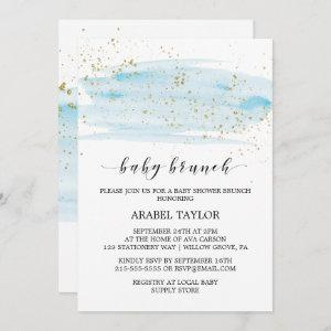 Watercolor Blue & Gold Sparkle Baby Brunch Invitation