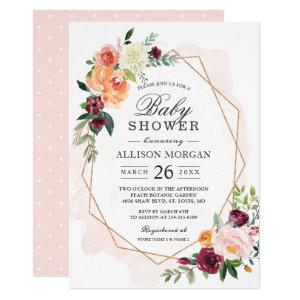Watercolor Blush Floral Girl Baby Shower Invitation