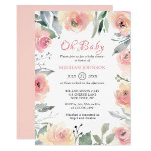 Watercolor Blush Pink Floral Oh Baby Shower Invitation