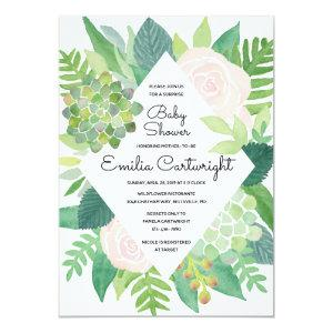 Watercolor Blush Rose and Succulent Baby Shower Invitation