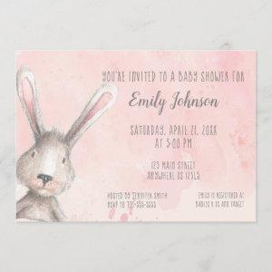 Watercolor Bunny Rabbit personalized baby shower