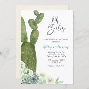 Watercolor Cactus Gender Neutral Baby Shower Invitation