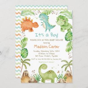 Watercolor Cute Dinosaur Greenery Boy Baby Shower Invitation