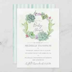 Watercolor Desert Cactus Succulents Baby Shower Invitation