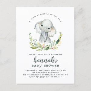 Watercolor Elephant Gender Neutral Baby Shower Invitation Postcard