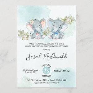 Watercolor Elephant Twins Boy Girl Baby Shower Invitation