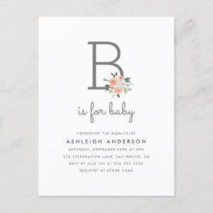 Watercolor Floral B is for Baby Simple Baby Shower Invitation Postcard