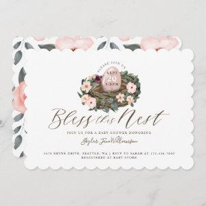 Watercolor Floral Baby Girl Bird Nest Baby Shower Invitation