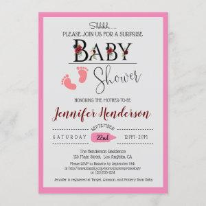 Watercolor Floral Baby Shower for Girl Invitation