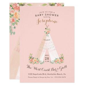 Watercolor Floral Boho Tribal Teepee Wild One Invitation