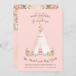 Watercolor Floral Boho Tribal Teepee Wild One